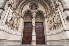 Red Cathedral Door Entrance. Doors of New York City cathedral St. John the Divine, New York Royalty Free Stock Photography