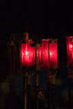 Red Catholic Church Candles. At mass worhip Royalty Free Stock Image