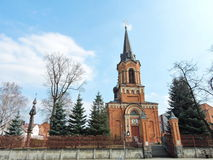 Red catholic church, Lithuania Stock Photo
