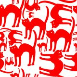 Red cats pattern isolated on white background Stock Photography