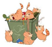 Illustration of a Cats and Waste Container Royalty Free Stock Image