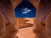 Red cave. Desert dune seen from red cave Royalty Free Stock Images