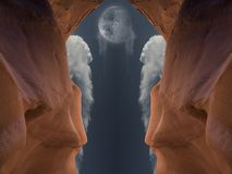 Red cave. Surrealistic red cave. Moon in cloudy sky Stock Images