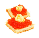 Red Caviar. And  butter on a white background Stock Image