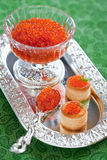 Red caviar. Bowl and spoon with red caviar and vol-au-vent with red caviar, selective focus Royalty Free Stock Image