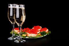 Red Caviar And Champagne Royalty Free Stock Photography