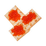 Red caviar on Biscuit Stock Images