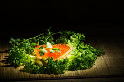 Red caviar and black bread. Still life with red caviar, black bread and fresh herbs Stock Image