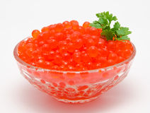 Red caviar in the bowl stock images