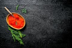 Red caviar in a bowl with a spoon and dill. On black rustic background stock images