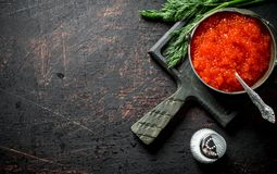 Red caviar in bowl with spoon, dill and salt. On rustic background stock image