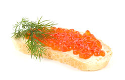 Red caviar with bread Royalty Free Stock Photography