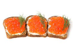 Red caviar with bread Royalty Free Stock Photos