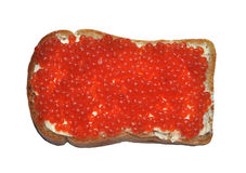 Red caviar with bread and butter Royalty Free Stock Photos