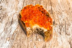 Red caviar bread sandwich Royalty Free Stock Images