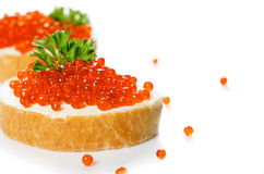 Red caviar with bread Stock Images