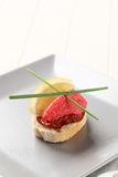 Red caviar canape Stock Photo