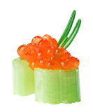 Red caviar canape with celery and rosemary twig Stock Images