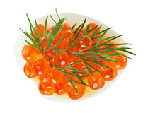 Red caviar canape with quail egg and dill twig Royalty Free Stock Images