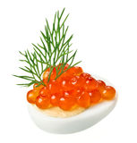 Red caviar canape with quail egg and dill twig Royalty Free Stock Photos