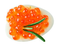Red caviar canape with quail egg and rosemary twig Royalty Free Stock Image