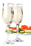 Red caviar and champagne Stock Photo