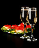 Red caviar and champagne Royalty Free Stock Image