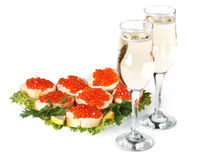 Red caviar and champagne Royalty Free Stock Photo