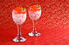 Red caviar with cream cheese Stock Photo