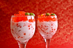 Red caviar with cream cheese Royalty Free Stock Photography