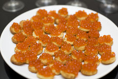Red caviar with croutons Royalty Free Stock Photo