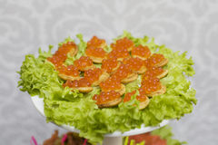 Red caviar with croutons Royalty Free Stock Photos