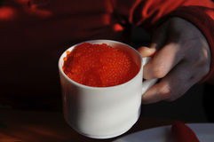Red Caviar in Cup Stock Photo