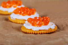 Red caviar in fish-shape bowl with crackers, closeup, selective focus Stock Image