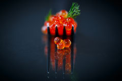 Red caviar on a fork Royalty Free Stock Photo