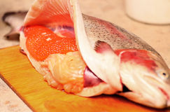 Red caviar, fresh, which only get more fish Stock Image