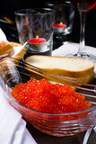 Red caviar in a glass Royalty Free Stock Images