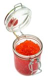 Red caviar in glass can Stock Photos