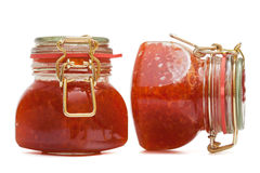 Red caviar in glass jar Stock Photography