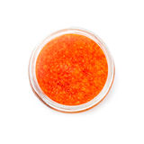 Red caviar in a glass jar isolated on white Royalty Free Stock Photography