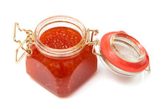 Red caviar in glass jar Royalty Free Stock Photos