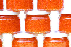 Red caviar in glass jars Royalty Free Stock Image