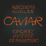 Red caviar. Handwritten caligraphic decorative vector alphabet Royalty Free Illustration