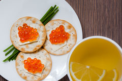 Red Caviar Holiday Breakfast Royalty Free Stock Images