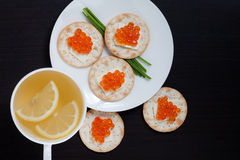Red Caviar Holiday Breakfast Royalty Free Stock Photos