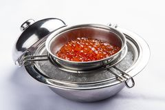 Red caviar in ice on a white background stock image