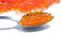Red Caviar In Spoon Stock Image