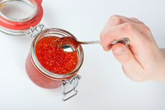 Red caviar in the jar Stock Photo