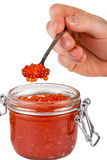 Red caviar in the jar. Close up Royalty Free Stock Photo