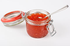 Red caviar in the jar. Close up Stock Images